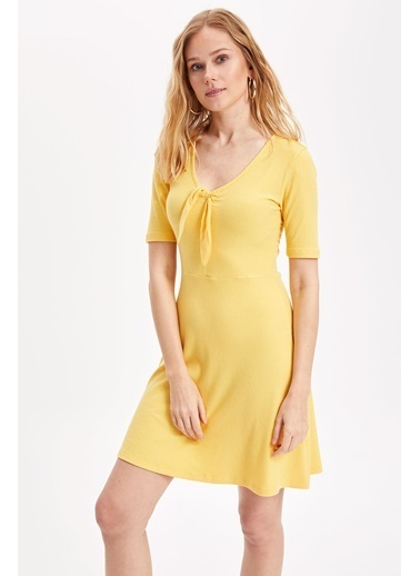 DeFacto V Yaka Örme Elbise Sarı